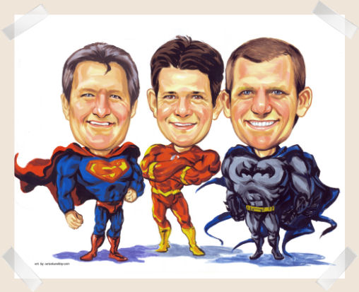 super-heros Fun caricature from photo gift idea