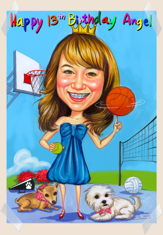 birthday girl gift caricature