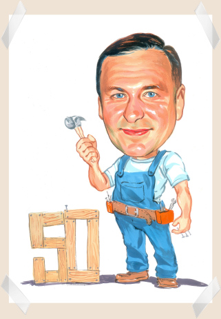 mans 50th birthday gift caricature