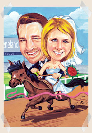 racing-bride-groom-caricature
