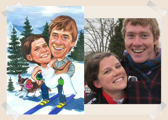wedding-couple-skis-caricature