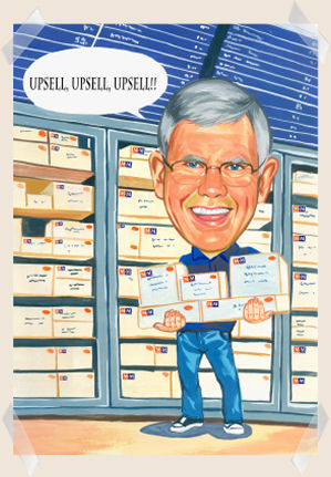 upsell-man-caricature